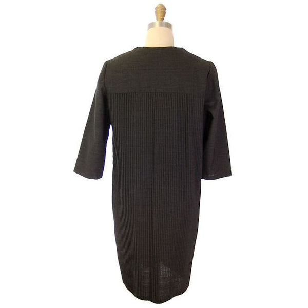 "Vintage Charcoal Gray Crystal Pleated Shift Dress 1960s 38"" Bust - The Best Vintage Clothing  - 3"