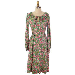 Vintage Floral 2 PC Knit Dress & Matching Scarf Robert Janan 1980s - The Best Vintage Clothing  - 6