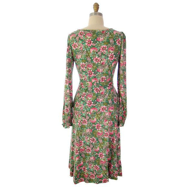 Vintage Floral 2 PC Knit Dress & Matching Scarf Robert Janan 1980s - The Best Vintage Clothing  - 2