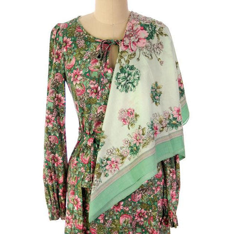 Vintage Floral 2 PC Knit Dress & Matching Scarf Robert Janan 1980s