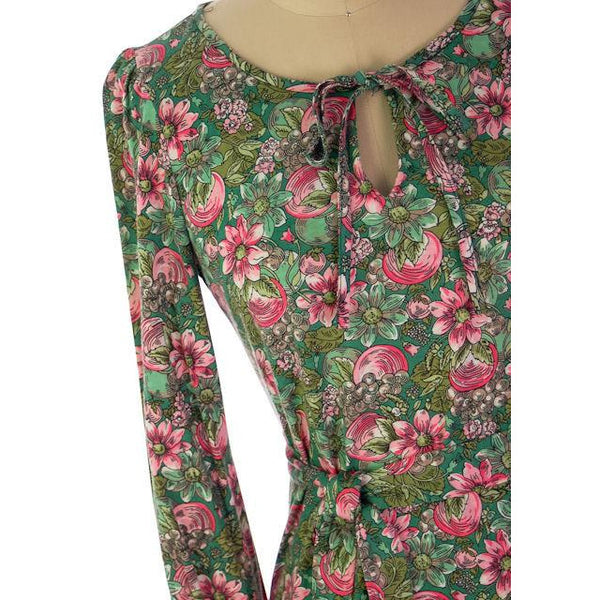 Vintage Floral 2 PC Knit Dress & Matching Scarf Robert Janan 1980s - The Best Vintage Clothing  - 3