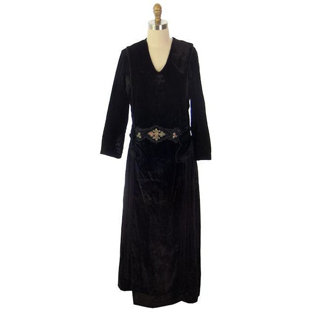 "Antique Dress Black Silk Velvet Gown Edwardian Downton Abbey Era Beaded Details 36"" Bust - The Best Vintage Clothing  - 1"