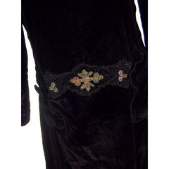 "Antique Dress Black Silk Velvet Gown Edwardian Downton Abbey Era Beaded Details 36"" Bust - The Best Vintage Clothing  - 7"