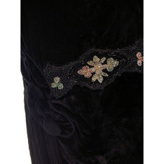 "Antique Dress Black Silk Velvet Gown Edwardian Downton Abbey Era Beaded Details 36"" Bust - The Best Vintage Clothing  - 5"