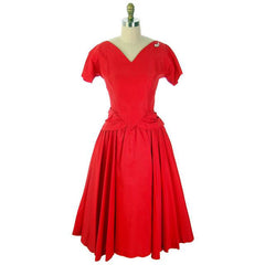 Vintage Lipstick Red Taffeta Party Gown 1950s R & K Originals 38-28-Free - The Best Vintage Clothing  - 1