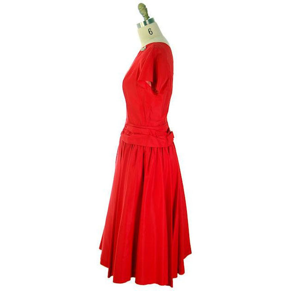 Vintage Lipstick Red Taffeta Party Gown 1950s R & K Originals 38-28-Free - The Best Vintage Clothing  - 2