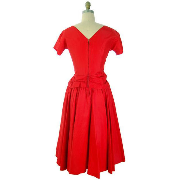 Vintage Lipstick Red Taffeta Party Gown 1950s R & K Originals 38-28-Free - The Best Vintage Clothing  - 4