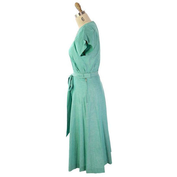 Vintage 2PC Green Cotton Skirt & Top Maison France Originals 1940s 36-26-42 NWOT - The Best Vintage Clothing  - 2