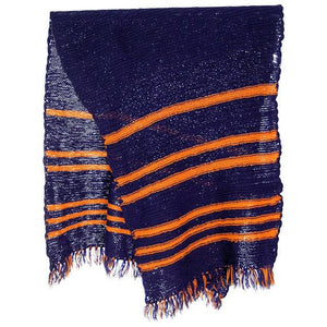 "Vintage Hand Knit Scarf/Shawl Navy w Gold Stripes Large Early 1920s 72"" - The Best Vintage Clothing  - 1"