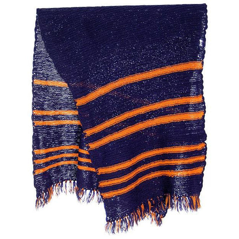 Vintage Hand Knit Scarf/Shawl Navy w Gold Stripes Large Early 1920s 72""