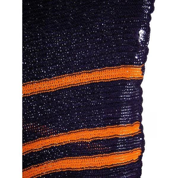 "Vintage Hand Knit Scarf/Shawl Navy w Gold Stripes Large Early 1920s 72"" - The Best Vintage Clothing  - 2"