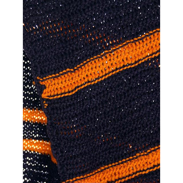 "Vintage Hand Knit Scarf/Shawl Navy w Gold Stripes Large Early 1920s 72"" - The Best Vintage Clothing  - 3"
