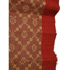 Antique 19th C Jacquard Overshot Coverlet Brown/ Green/ Red Pennsylvania 36 x72 - The Best Vintage Clothing  - 1