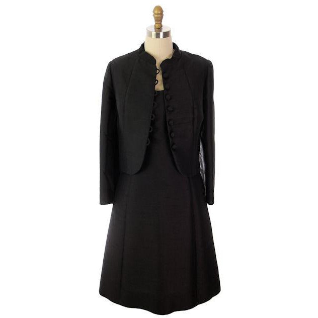 Vintage Black Silk Cocktail Dress & Coat Saks Fifth Ave 1965 Custom ...