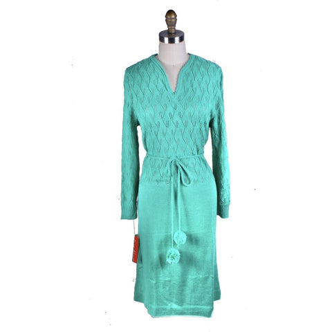 Vintage Green Sweater Dress Keith Adams Womens Large 16 Shell Stitch NWT Acrylic