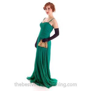 Modern Vera Wang Gown Green Silk Chiffon 1940s Look Size 2 or 4 - The Best Vintage Clothing  - 1