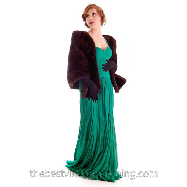 Modern Vera Wang Gown Green Silk Chiffon 1940s Look Size 2 or 4 - The Best Vintage Clothing  - 3