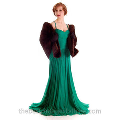 Modern Vera Wang Gown Green Silk Chiffon 1940s Look Size 2 or 4 - The Best Vintage Clothing  - 4
