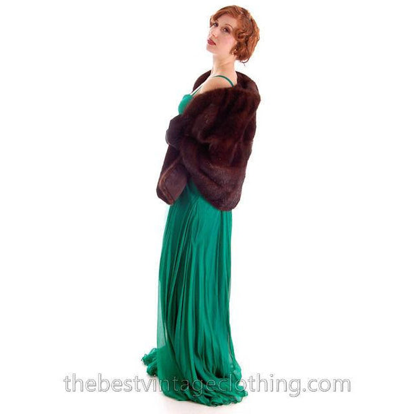 Modern Vera Wang Gown Green Silk Chiffon 1940s Look Size 2 or 4 - The Best Vintage Clothing  - 5