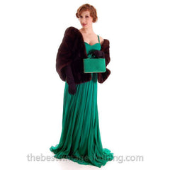 Modern Vera Wang Gown Green Silk Chiffon 1940s Look Size 2 or 4 - The Best Vintage Clothing  - 6