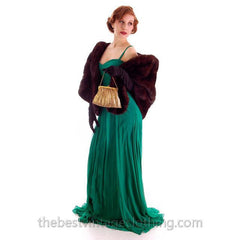 Modern Vera Wang Gown Green Silk Chiffon 1940s Look Size 2 or 4 - The Best Vintage Clothing  - 7