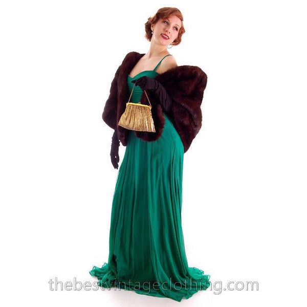 Modern Vera Wang Gown Green Silk Chiffon 1940s Look Size 2 or 4 - The Best Vintage Clothing  - 8