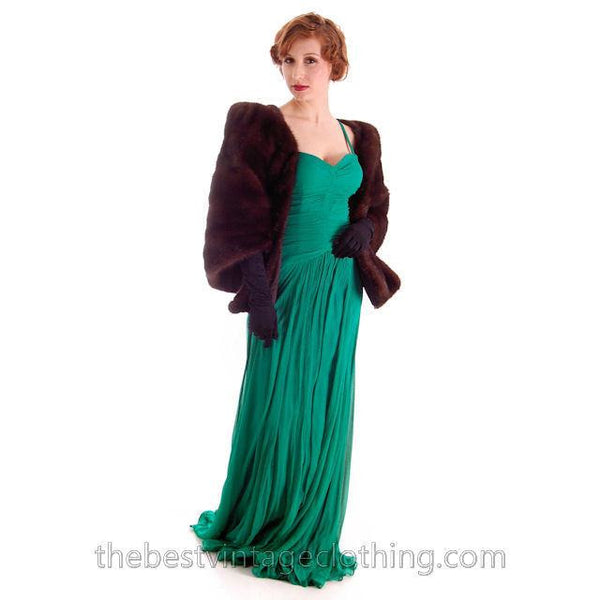 Modern Vera Wang Gown Green Silk Chiffon 1940s Look Size 2 or 4 - The Best Vintage Clothing  - 10