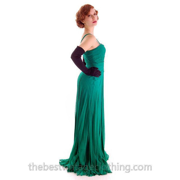 Modern Vera Wang Gown Green Silk Chiffon 1940s Look Size 2 or 4 - The Best Vintage Clothing  - 12