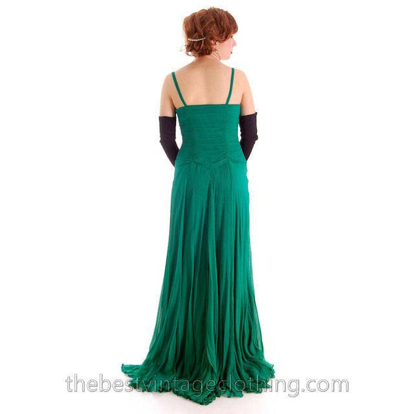 Modern Vera Wang Gown Green Silk Chiffon 1940s Look Size 2 or 4 - The Best Vintage Clothing  - 14