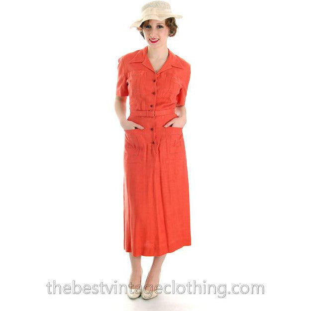 Vintage Linen Day Dress 1940s Papaya Colored L'Aiglon 35-25-36