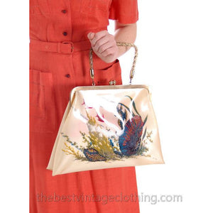 Vintage Hand Bag Whimsical Reverse Painted Seahorse Plastic Purse 1940S - The Best Vintage Clothing  - 1
