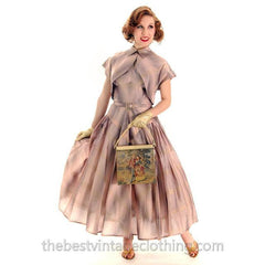 Vintage Halter Party Gown Pink Gold Metallic Silk Circle Skirt 1950s 34-26-Free - The Best Vintage Clothing  - 5