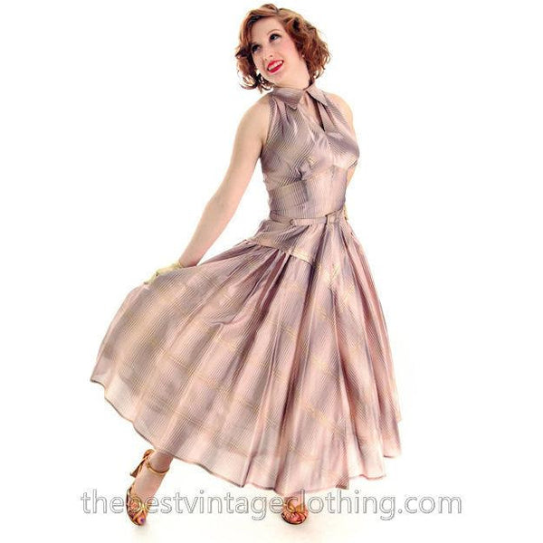 Vintage Halter Party Gown Pink Gold Metallic Silk Circle Skirt 1950s 34-26-Free - The Best Vintage Clothing  - 7