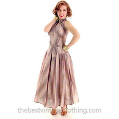 Vintage Halter Party Gown Pink Gold Metallic Silk Circle Skirt 1950s 34-26-Free - The Best Vintage Clothing  - 3