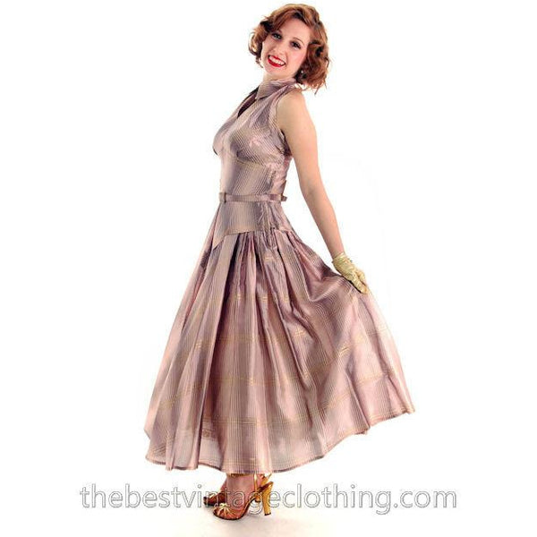 Vintage Halter Party Gown Pink Gold Metallic Silk Circle Skirt 1950s 34-26-Free - The Best Vintage Clothing  - 6