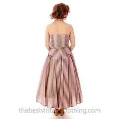 Vintage Halter Party Gown Pink Gold Metallic Silk Circle Skirt 1950s 34-26-Free - The Best Vintage Clothing  - 2