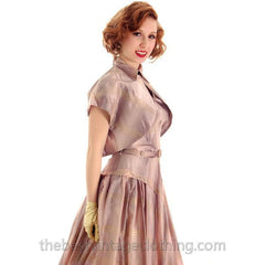 Vintage Halter Party Gown Pink Gold Metallic Silk Circle Skirt 1950s 34-26-Free - The Best Vintage Clothing  - 4