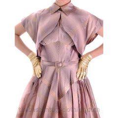 Vintage Halter Party Gown Pink Gold Metallic Silk Circle Skirt 1950s 34-26-Free - The Best Vintage Clothing  - 8