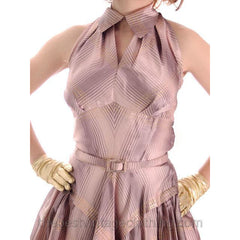 Vintage Halter Party Gown Pink Gold Metallic Silk Circle Skirt 1950s 34-26-Free - The Best Vintage Clothing  - 9
