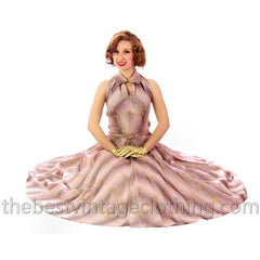 Vintage Halter Party Gown Pink Gold Metallic Silk Circle Skirt 1950s 34-26-Free - The Best Vintage Clothing  - 12