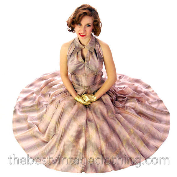 Vintage Halter Party Gown Pink Gold Metallic Silk Circle Skirt 1950s 34-26-Free - The Best Vintage Clothing  - 1