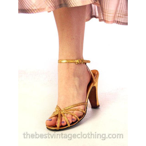 Vintage Gold Leather Sandals Ankle Strap 1940'S BonWit Teller Fifth Ave Sz 7