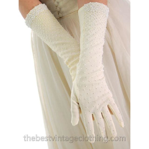 Vintage Beaded Gloves Ivory Color Lady Elaine New In Package 1950s One Size
