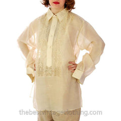 Vintage Mens Manila Shirt 1920s Embroidered Silk Organdy Tesoros - The Best Vintage Clothing  - 3