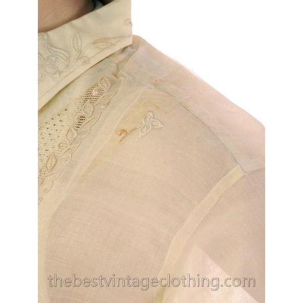 Vintage Mens Manila Shirt 1920s Embroidered Silk Organdy Tesoros - The Best Vintage Clothing  - 2