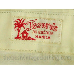 Vintage Mens Manila Shirt 1920s Embroidered Silk Organdy Tesoros - The Best Vintage Clothing  - 5