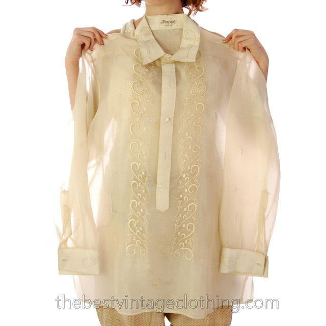 Vintage Mens Manila Shirt 1920s Embroidered Silk Organdy Aurelias 40 - The Best Vintage Clothing  - 1