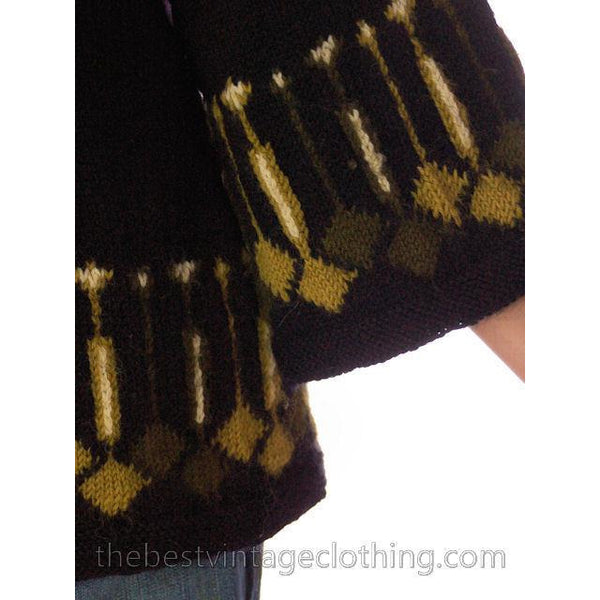 Vintage Sweater 1960s Border Print Green / Black Wool Sz 34 Bust - The Best Vintage Clothing  - 4