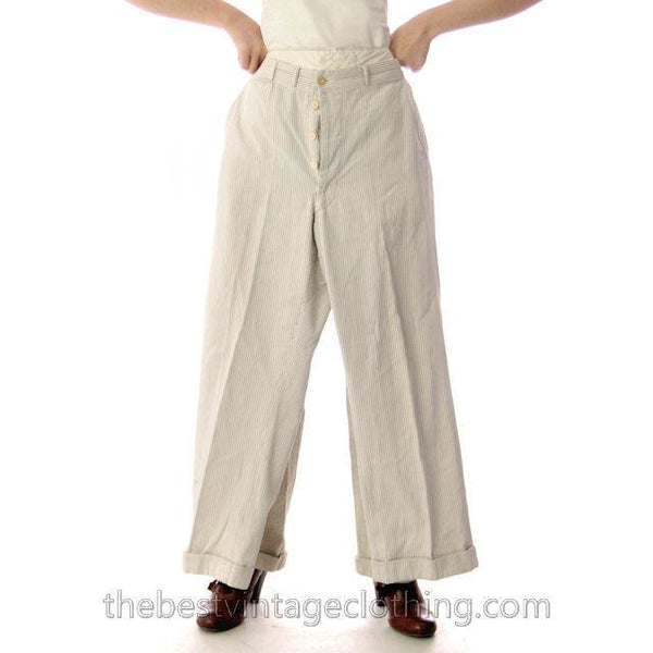 Mens Vintage Side Buckle Button Fly Pants 1930s Gray/White Pinstripe Cotton 38/27 - The Best Vintage Clothing  - 2