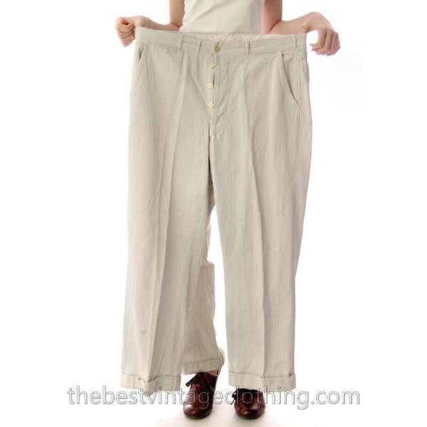 Mens Vintage Side Buckle Button Fly Pants 1930s Gray/White Pinstripe Cotton 38/27 - The Best Vintage Clothing  - 3